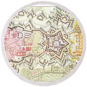 Plan Of Part Of The City And Citadel Of Strasbourg Round Beach Towel