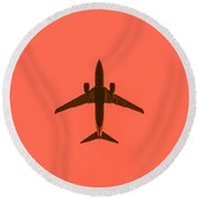 Plane In The Sky  Along With The Moon 2 Round Beach Towel