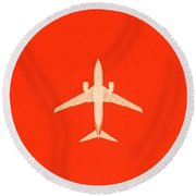 Plane In The Sky  Along With The Moon 3 Round Beach Towel