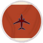 Plane In The Sky  Along With The Moon 4 Round Beach Towel