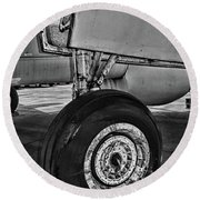 Plane - Landing Gear In Black And White Round Beach Towel