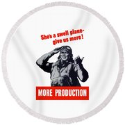 Plane Production Give Us More Round Beach Towel