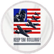 Planes -- Keep 'em Rolling Round Beach Towel