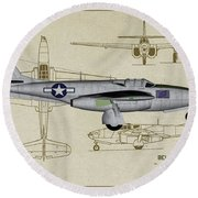Planes Of Fame A-59 Airacomet - Profile Round Beach Towel