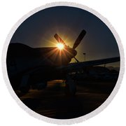 Planes Of Fame Mustang Morning Round Beach Towel
