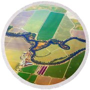 Planet Art Colorful  Midwest Aerial Round Beach Towel