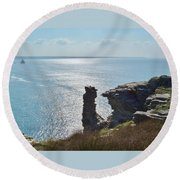 Planet Earth Is Blue  Round Beach Towel