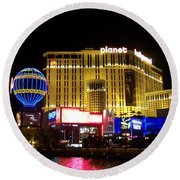 Planet Hollywood By Night Round Beach Towel