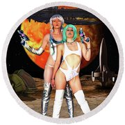 Planet Of The Space Vixens Round Beach Towel