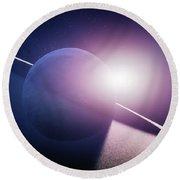 Planet Saturn Sunrise Round Beach Towel