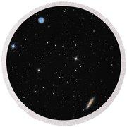 Planetary Nebula Messier 97 Owl Nebula And Galaxy Messier 108 In Constellation Ursa Major Round Beach Towel
