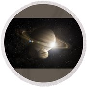 Planetary Ring Round Beach Towel