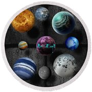 Planets Round Beach Towel