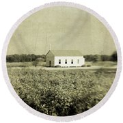 Plantation Church - Sepia Texture Round Beach Towel