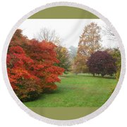 Planting Fields Red Tree Round Beach Towel