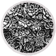 Plants Of Black And White Round Beach Towel