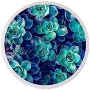 Plants Of Blue And Green Round Beach Towel