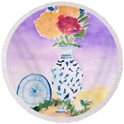 Plate And Flowers Round Beach Towel
