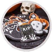 Plate Of Halloween Sugar Cookies Round Beach Towel