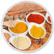 Plates Of Spices  Round Beach Towel