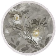 Platinum Feathers, Peacock Feathers Home Fashion Round Beach Towel