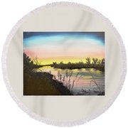 Platte River Sunrise Round Beach Towel