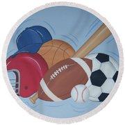 Play Ball Round Beach Towel