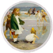 Play In The Surf Round Beach Towel by Edward Henry Potthast