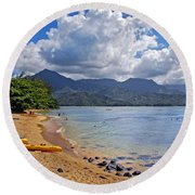 Play Time In Princeville Round Beach Towel