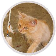 Play Time With Kitty Round Beach Towel