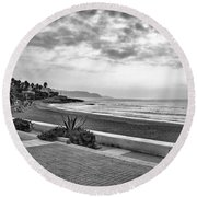 Playa Burriana, Nerja Round Beach Towel by John Edwards