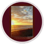 Playa Hermosa Puntarenas Costa Rica - Sunset A One Detail Two Vertical Poster Greeting Card Round Beach Towel