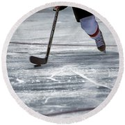 Player And Puck Round Beach Towel