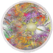 Playful Colors Of Energy Round Beach Towel
