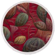 Playful In Red Round Beach Towel