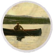 Playing A Fish Round Beach Towel by Winslow Homer