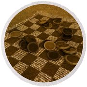 Playing Checkers On A Rug Round Beach Towel