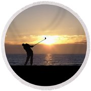 Playing Golf At Sunset Round Beach Towel