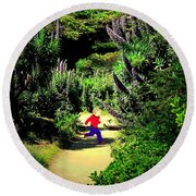 Playing In The Garden Five Round Beach Towel