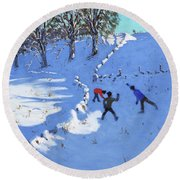 Playing In The Snow Youlgrave, Derbyshire Round Beach Towel