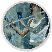 Playing The Flute Round Beach Towel