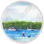 Playing With The Dogs At Rose Bay Round Beach Towel