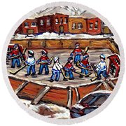 Playoff Time At The Local Hockey Rink Montreal Winter Scenes Paintings Best Canadian Art C Spandau Round Beach Towel