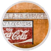 Plaza Corner Coca Cola Sign Round Beach Towel