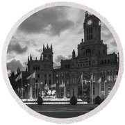 Plaza De Cibeles Fountain Madrid Spain Round Beach Towel