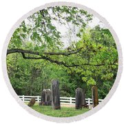 Pleasant Forest Cemetery Round Beach Towel