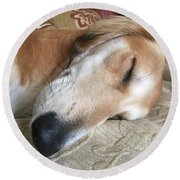 Please Be Quiet. Saluki Round Beach Towel