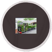 Please May I Drive? - Llangollen Steam Railway, North Wales Round Beach Towel