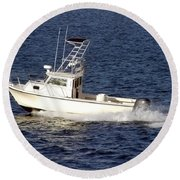 Pleasure Fishing Boat Round Beach Towel