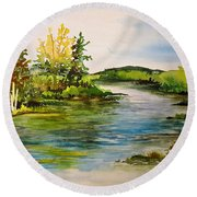 Plein Air At Grand Beach Lagoon Round Beach Towel